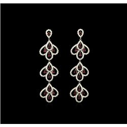 3.30 ctw Ruby and Diamond Earrings Dangle - 18KT White Gold