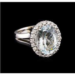 5.67 ctw Aquamarine and Diamond Ring - 14KT White Gold
