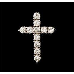 3.55 ctw Diamond Cross Pendant - 18KT White Gold