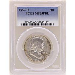 1959-D Franklin Half Dollar Coin PCGS MS65FBL