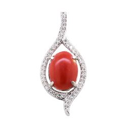 5.65 ctw Red Coral and Diamond Pendant - 14KT White Gold