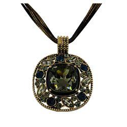 Multi Crystal Bezel Necklace