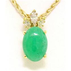 18k Yellow Gold Oval Green Jade & Marquise Diamond Pendant w/ 14k Wheat Chain