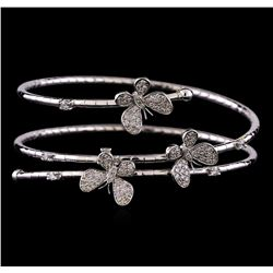 1.18 ctw Diamond Cuff Bracelet - 14KT White Gold