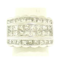 18k White Gold Invisible Set 4.20 ctw Princess & Round Diamond Wide Band Ring