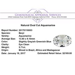5.71 ct.Natural Oval Cut Aquamarine
