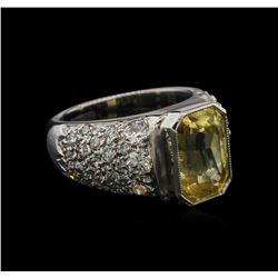 6.28 ctw Yellow Sapphire and Diamond Ring - Platinum