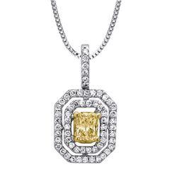 18k Two Tone Gold 0.69CTW Diamond Pendant, (VS1-VS2/Nat-yel/G-H)
