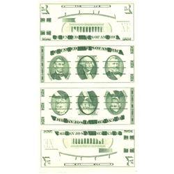 U.S. Giori Test Banknote Uncut Sheet of 4