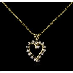 0.72 ctw Diamond Pendant With Chain - 14KT Yellow Gold