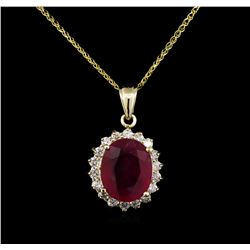7.61 ctw Ruby and Diamond Pendant With Chain - 14KT Yellow Gold