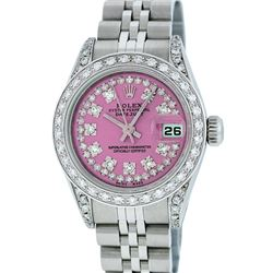 Rolex Ladies Stainless Steel Quickset Pink String Diamond Lugs Datejust Wristwat