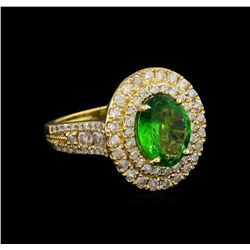 2.70 ctw Tsavorite and Diamond Ring - 14KT Yellow Gold