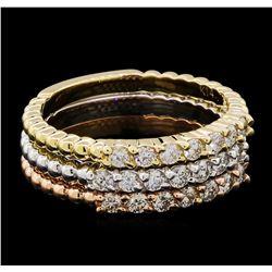 0.65 ctw Diamond Ring Set - 14KT Tri Color Gold