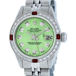 Rolex Ladies Stainless Steel Green Diamond & Ruby Datejust Wristwatch