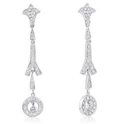 14k White Gold 1.30CTW Diamond Earrings, (I1-I2/J)