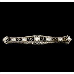 0.87 ctw Diamond Brooch - 18KT White Gold