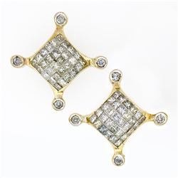 Large 14K Yellow Gold 1.32 ctw Princess Round Diamond Cluster Screw Back Earring