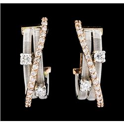 0.58 ctw Diamond Earrings - 14KT Two-Tone Gold