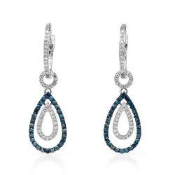 14k White Gold 0.61CTW Diamond and Blue Diamonds Earrings, (SI1-SI2/Gold)
