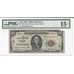 1929 $100 Federal Reserve Bank Note Richmond PMG Choice Fine 15 Net