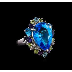 15.36 ctw Multi Gemstone Ring - 14KT White Gold