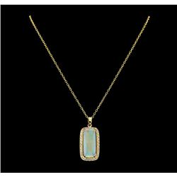 16.45 ctw Opal and Diamond Pendant With Chain - 14KT Yellow Gold