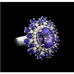 14KT White Gold 4.93 ctw Tanzanite, Sapphire and Diamond Ring