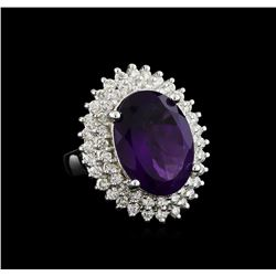 7.73 ctw Amethyst and Diamond Ring - 14KT White Gold
