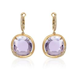 14k Rose Gold 12.66CTW Diamond and Amethyst Earrings, (I1/I)