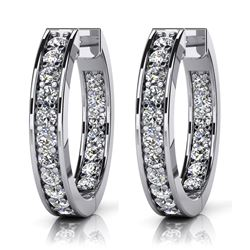 14K White Gold 0.75CTW Diamond Earrings, (SI1/F-G)