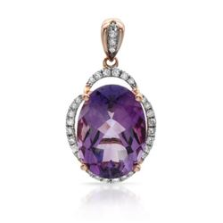 14k Rose Gold  5.68CTW Amethyst and Diamond Pendant
