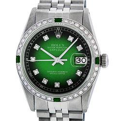 Rolex Mens Stainless Steel Green Vignette Diamond & Emerald Datejust Wristwatch