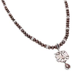 14K White Gold Diamond Pendant Necklace, (SI1/G-H)