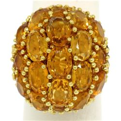 18K Yellow Gold 19 ctw Oval & Round Citrine Large Dome Cluster Cocktail Ring