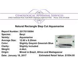 4.44 ct.Natural Rectangle Step Cut Aquamarine