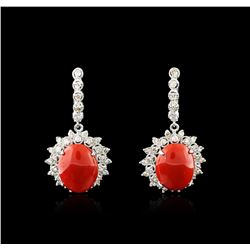 14KT White Gold 18.00 ctw Coral and Diamond Earrings