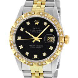 Rolex Mens 2 Tone 14K Black Diamond Pyramid Bezel Datejust Wristwatch