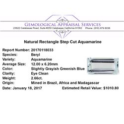 2.66 ct.Natural Rectangle Step Cut Aquamarine