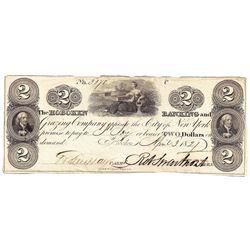 1827 $2 Hoboken Banking, NJ Obsolete Bank Note