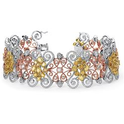 18k White/rose Gold 16.03CTW Diamond Bracelet, (VS1-VS2/SI1-SI2/F-G/Fan)