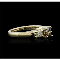 14KT Yellow Gold 0.98 ctw Brown Diamond Ring