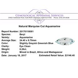 8.28 ct.Natural Marquise Cut Aquamarine