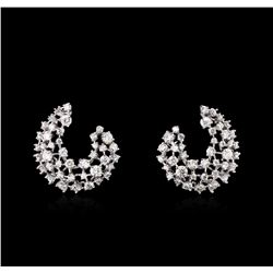 3.00 ctw Diamond Earrings - 14KT White Gold