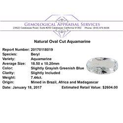 7.44 ct.Natural Oval Cut Aquamarine