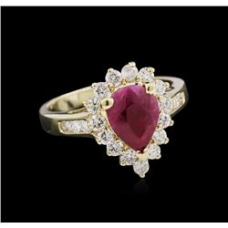 1.53 ctw Ruby and Diamond Ring - 14KT Yellow Gold