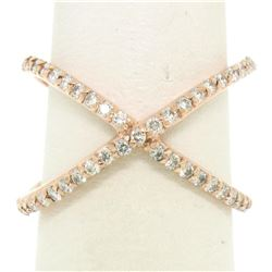 14k Rose Gold 0.50 ctw 45 Round Brilliant Diamond Simple X Ex Cross Band Ring