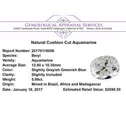5.99 ct.Natural Cushion Cut Aquamarine