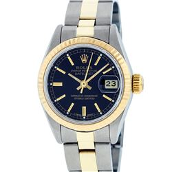 Rolex Ladies 2 Tone 14K Black Index 26MM Oyster Band Fluted Datejust Wristwatch