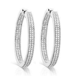 14k White Gold 1.00CTW Diamond Earrings, (I2 /H)